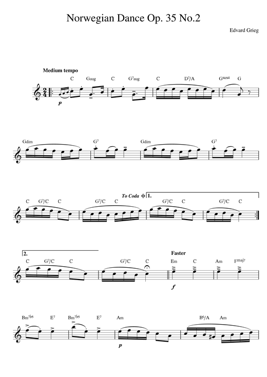 Norwegian Dance No. 2 Op. 35 Sheet Music