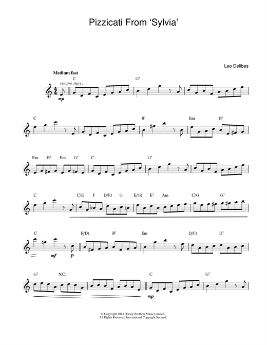 Pizzicati From Sylvia Sheet Music
