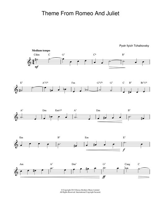 Romeo And Juliet (Lead Sheet / Fake Book)
