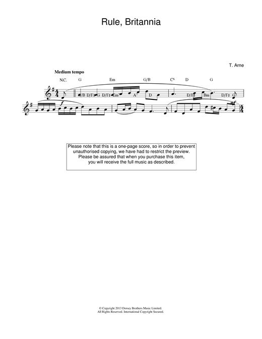 Rule Britannia Sheet Music