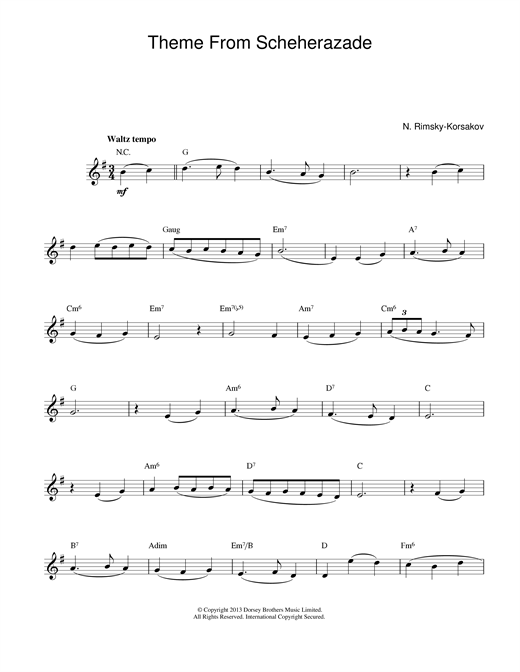 Theme from Scheherazade Sheet Music