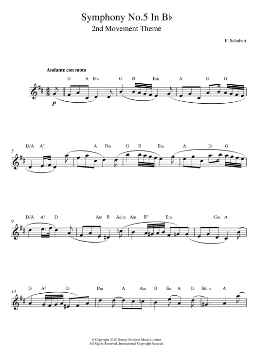 Symphony No.5 in B Flat Major - 2nd Movement: Andante con moto Sheet Music