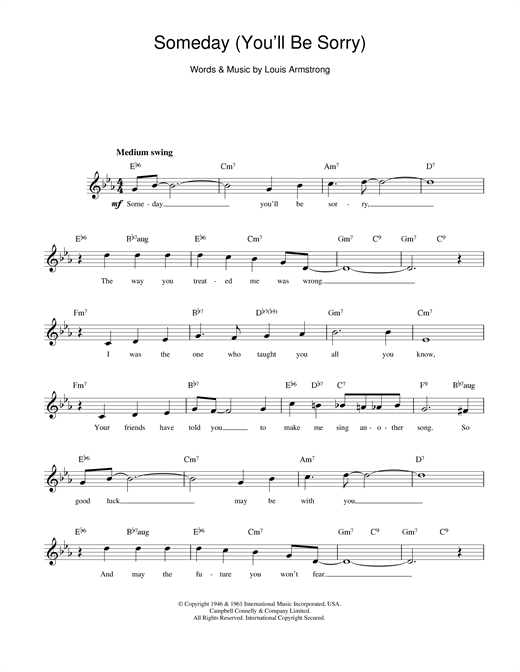 Guitar guitar chords sorry : Someday (You'll Be Sorry) chords by Louis Armstrong (Melody Line ...