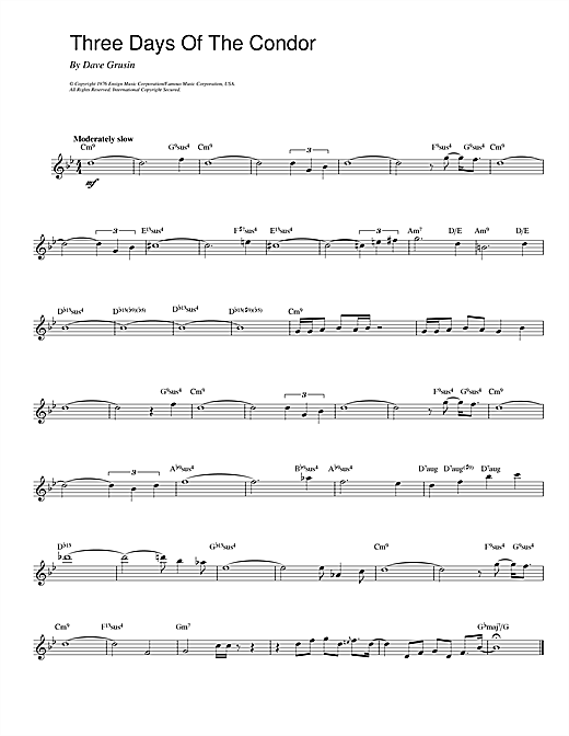 Three Days Of The Condor Sheet Music