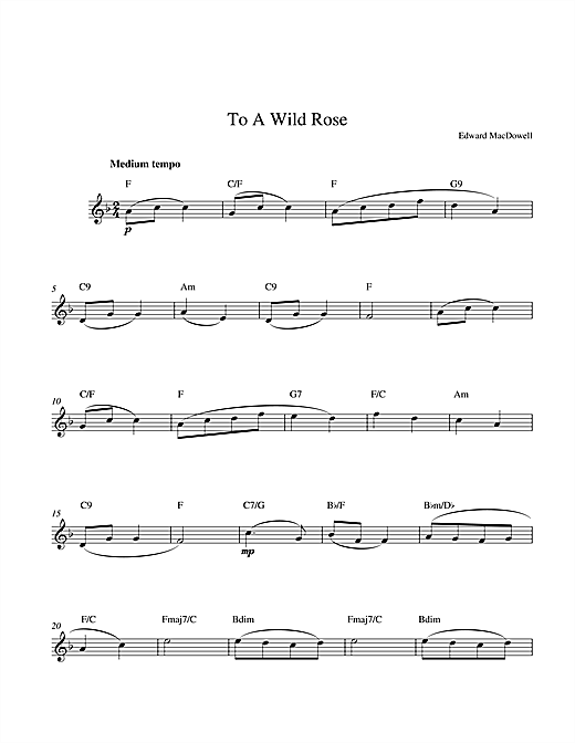 To A Wild Rose Sheet Music
