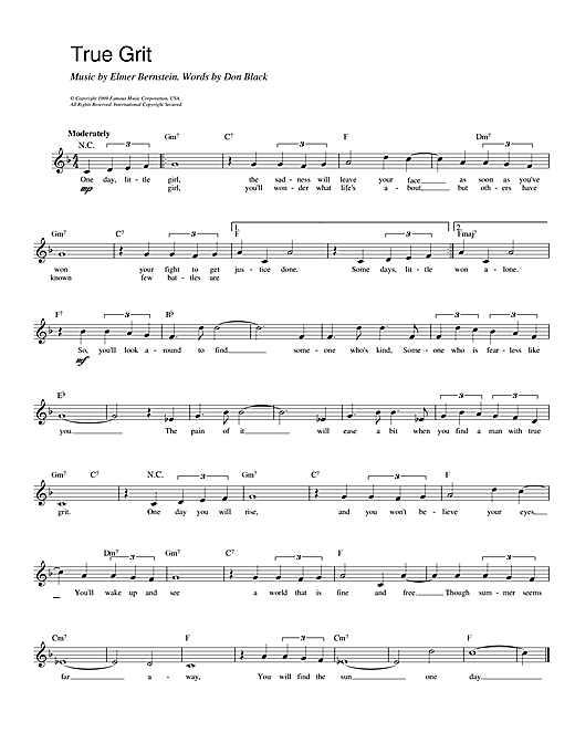 True Grit (Lead Sheet / Fake Book)