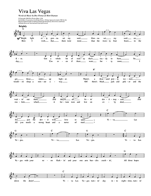 Viva Las Vegas Sheet Music