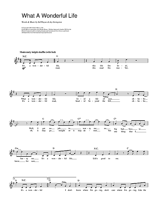 What A Wonderful Life (Lead Sheet / Fake Book)