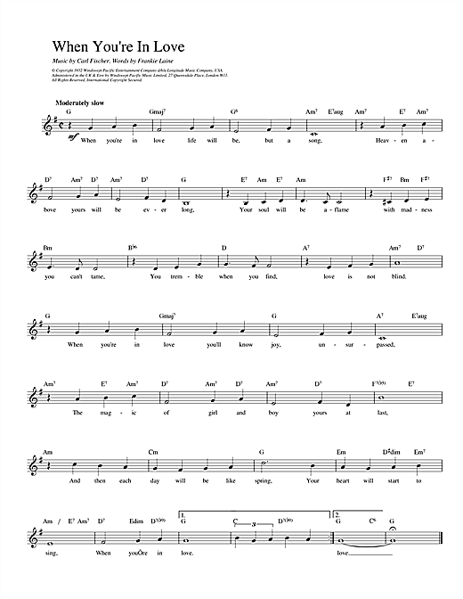 When You're In Love (Lead Sheet / Fake Book)