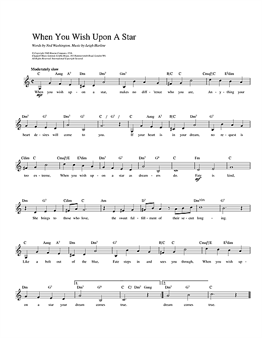 When You Wish Upon A Star (from Disney's Pinocchio) (Lead Sheet / Fake Book)