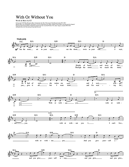 With Or Without You chords by U2 (Melody Line, Lyrics & Chords – 14241)