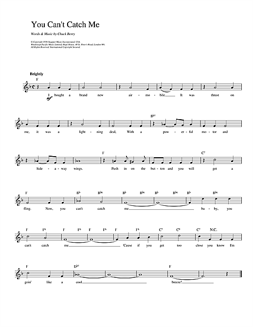 You Can't Catch Me Sheet Music