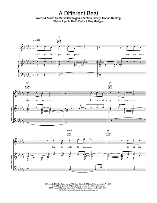 A Different Beat Sheet Music
