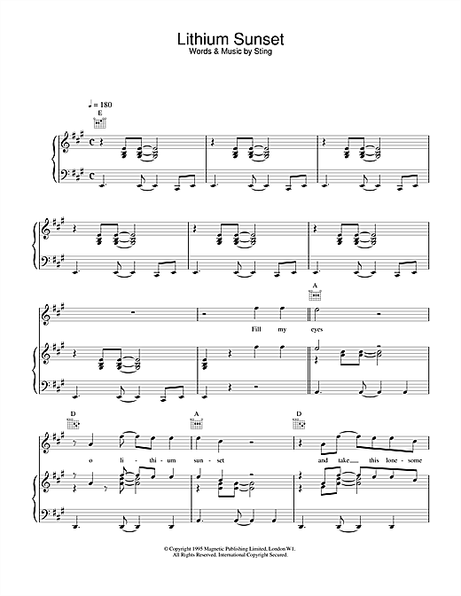 Lithium Sunset Sheet Music
