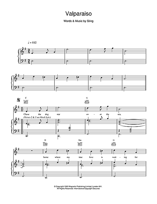 Valparaiso Sheet Music