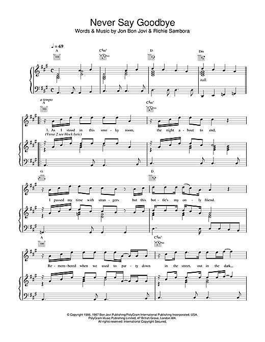 Never Say Goodbye Sheet Music