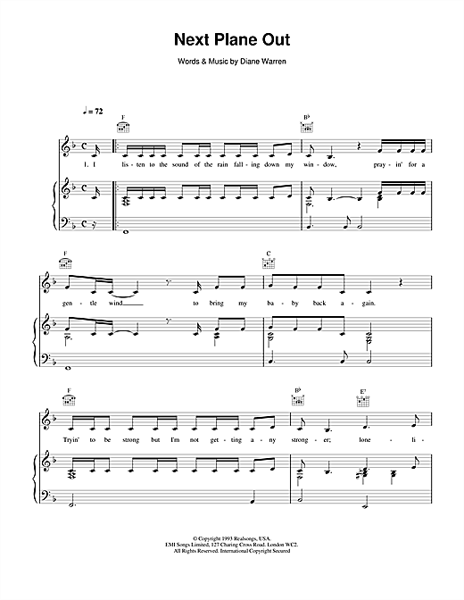 Next Plane Out Sheet Music