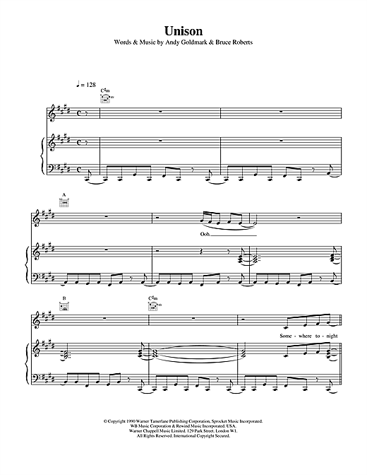 Unison (Piano, Vocal & Guitar (Right-Hand Melody))