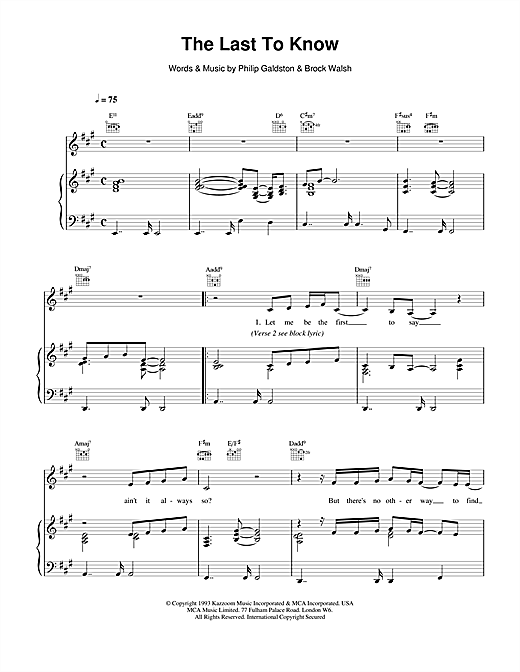 The Last To Know Sheet Music