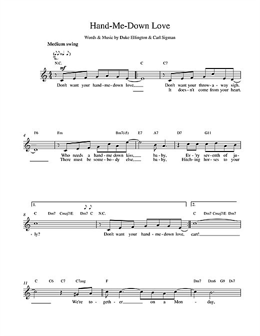 Hand Me Down (Lead Sheet / Fake Book)