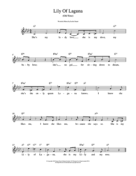 Lily Of Laguna (Lead Sheet / Fake Book)
