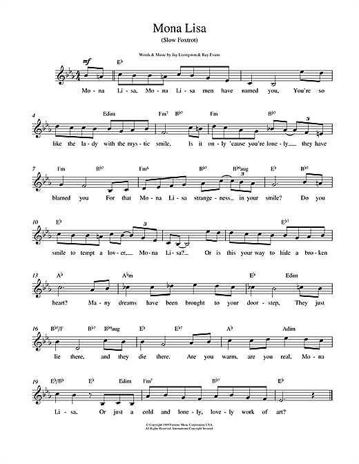 Mona Lisa chords by Nat King Cole (Melody Line, Lyrics & Chords – 14709)
