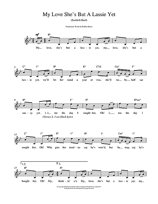 My Love She's But A Lassie Yet (Lead Sheet / Fake Book)