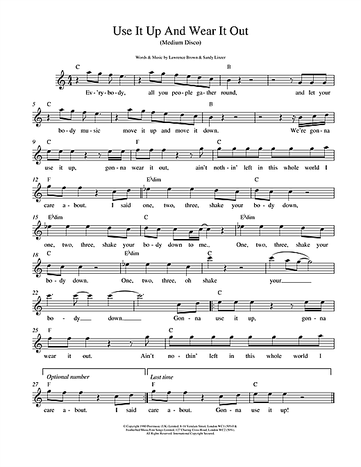Use It Up And Wear It Out (Lead Sheet / Fake Book)