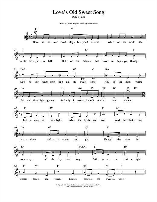Love's Old Sweet Song (Lead Sheet / Fake Book)