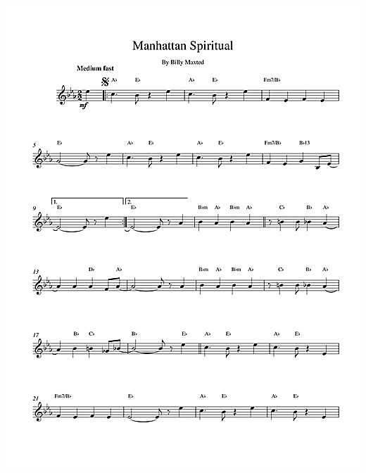 Manhattan Spiritual (Lead Sheet / Fake Book)