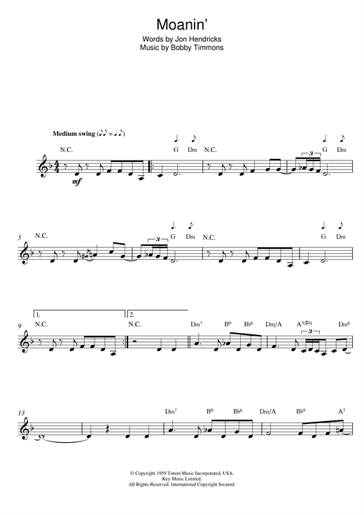 Moanin' Sheet Music