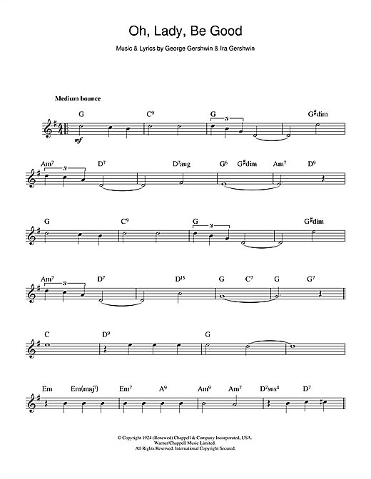 Oh lady be good sheet music by george gershwin melody line amp chords