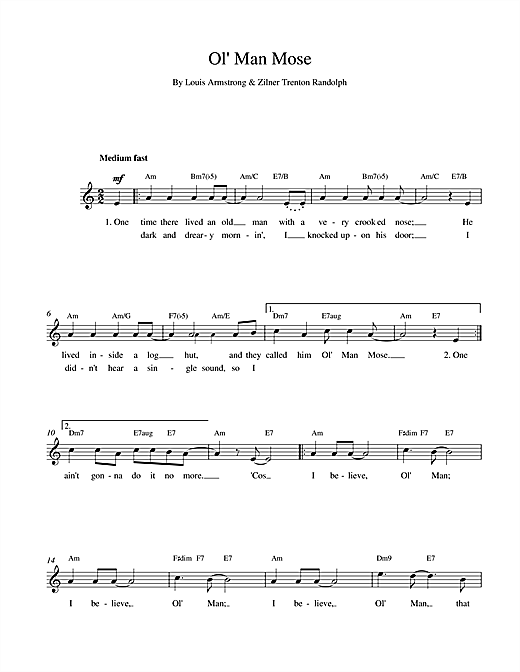 Ol Man Mose chords by Louis Armstrong (Melody Line, Lyrics & Chords ...