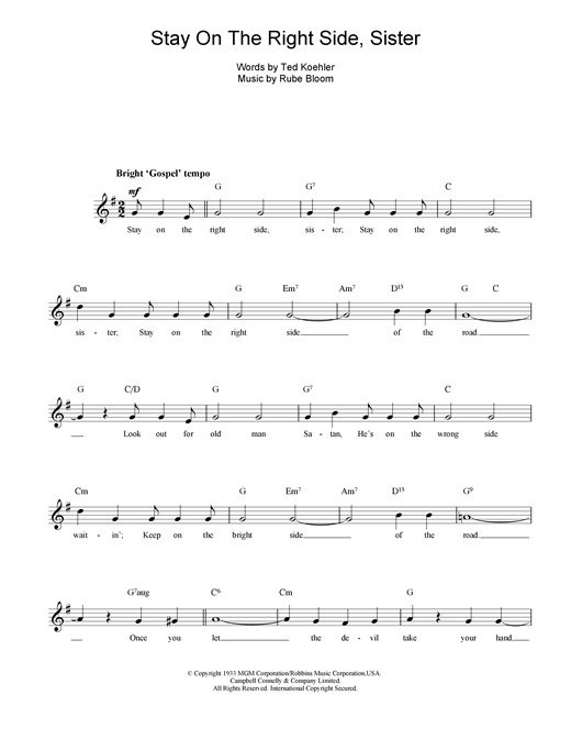 Stay On The Right Side Sister (Lead Sheet / Fake Book)