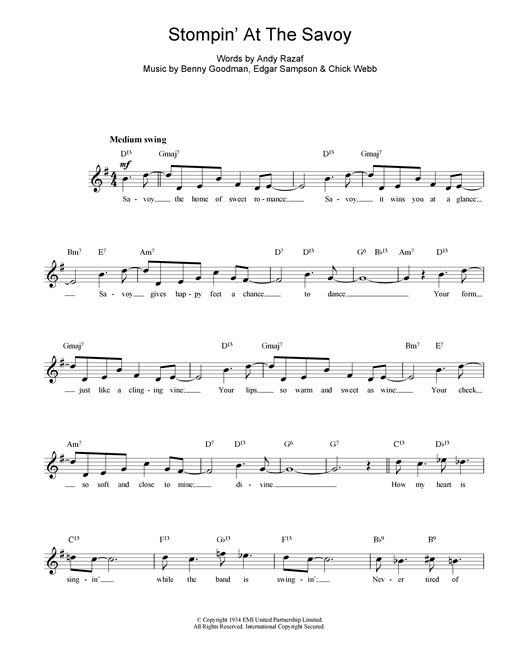 Stompin At The Savoy (Lead Sheet / Fake Book)
