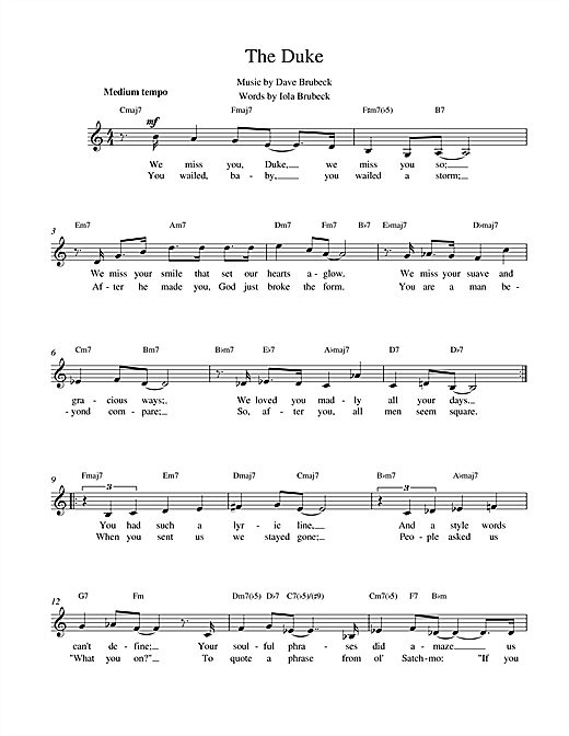 The Duke Sheet Music