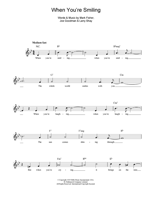 When You're Smiling (The Whole World Smiles With You) (Lead Sheet / Fake Book)