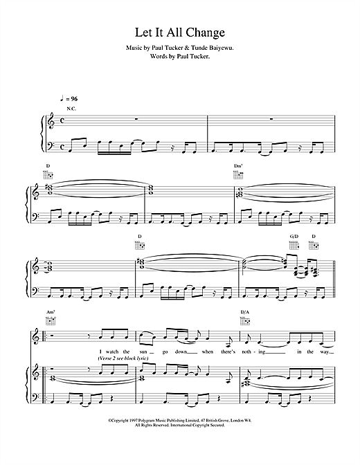 Let It All Change Sheet Music