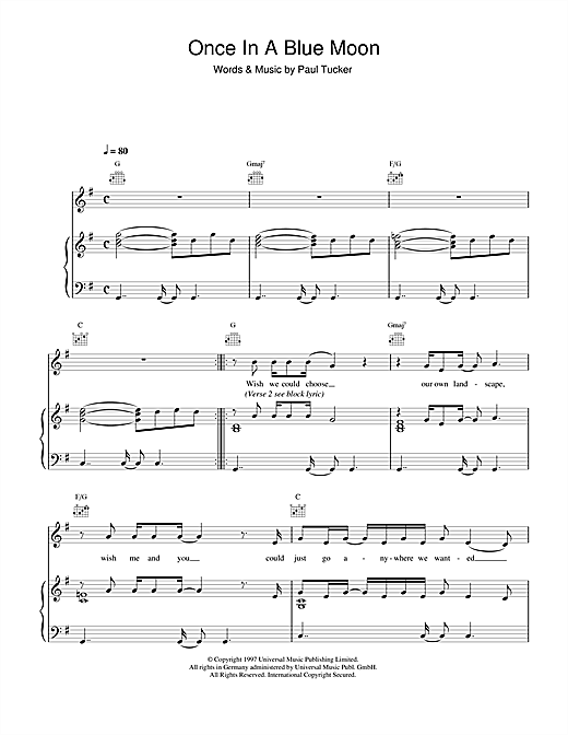 Once In A Blue Moon Sheet Music