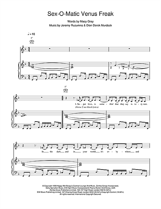 Sexomatic Venus Freak Sheet Music