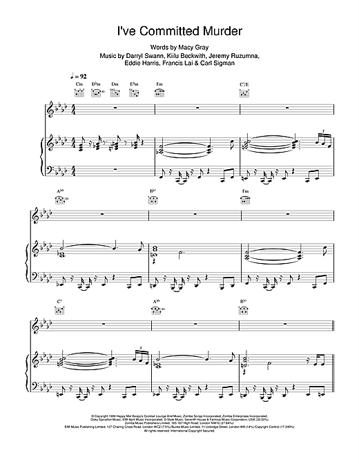 I've Committed Murder Sheet Music