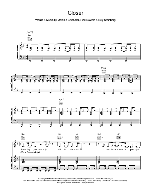 Partition piano Closer de Melanie C - Piano Voix Guitare