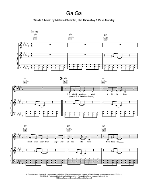 Partition piano Ga Ga de Melanie C - Piano Voix Guitare