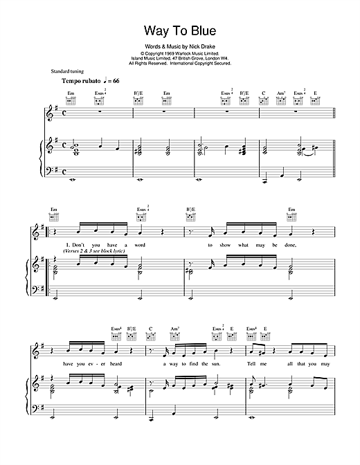 Way To Blue Sheet Music