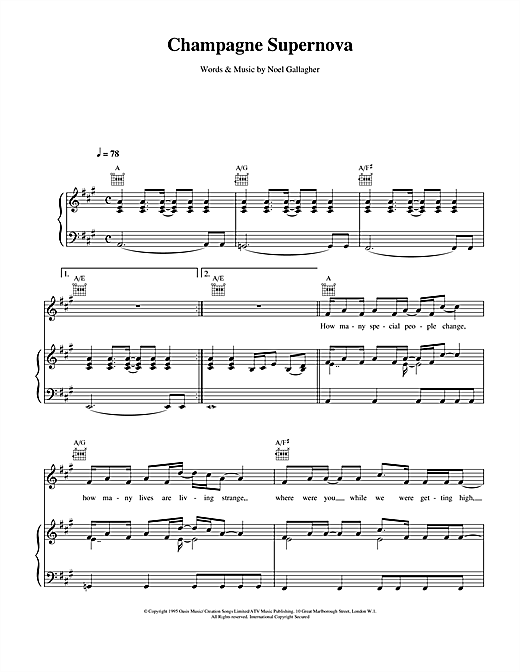 Champagne Supernova sheet music by Oasis (Piano, Vocal & Guitar ...