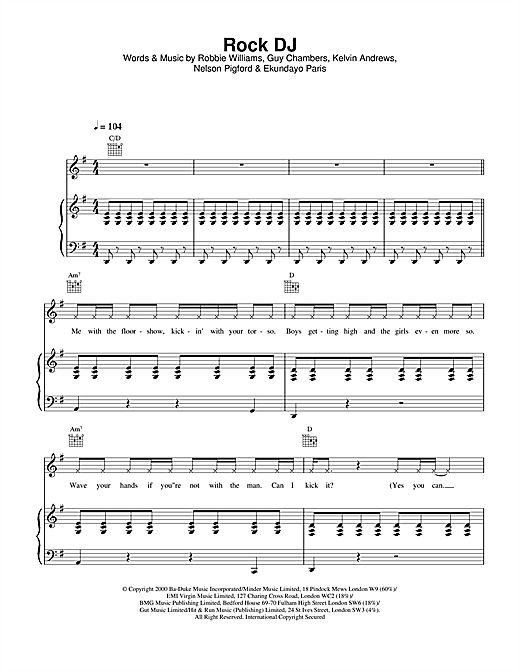 Rock DJ Sheet Music