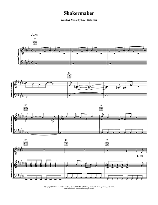 Shakermaker (Piano, Vocal & Guitar (Right-Hand Melody))