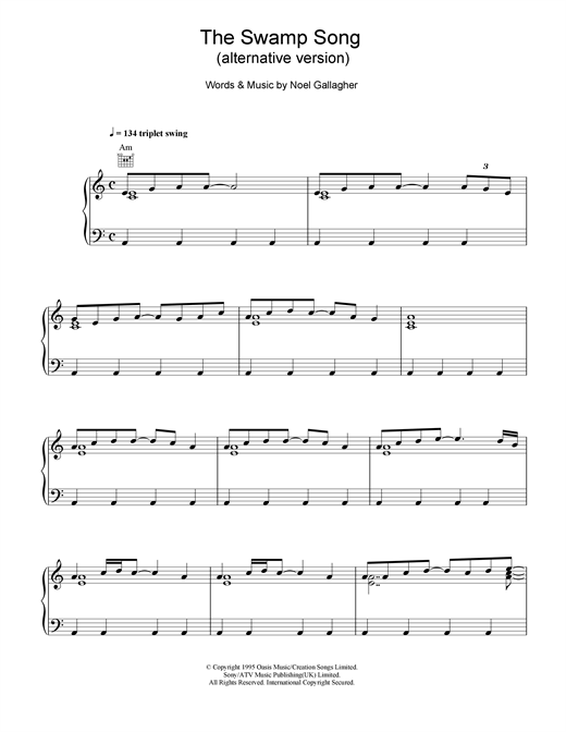 The Swamp Song (alternative version) Sheet Music