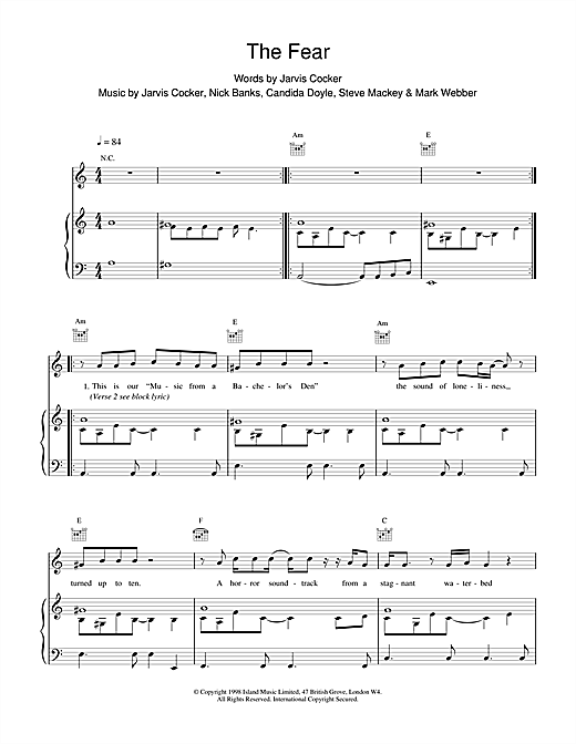 Partition piano The Fear de Pulp - Piano Voix Guitare