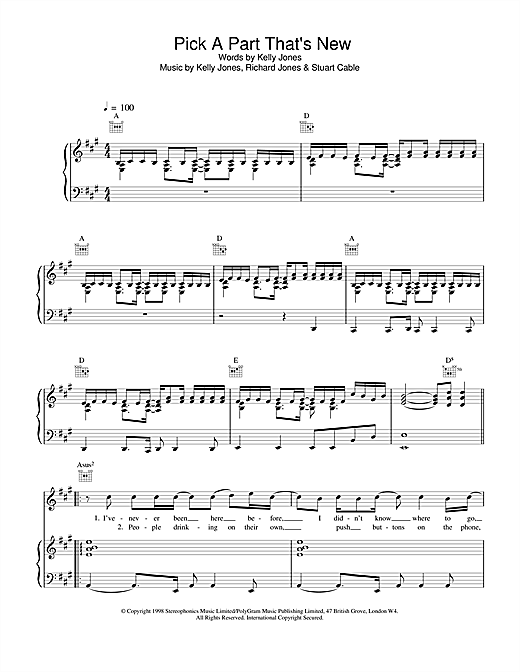 Pick A Part That's New Sheet Music